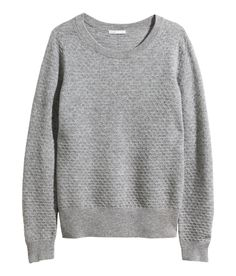 Premium quality gray cashmere sweater with long sleeves and textured surface interest. | H&M Modern Classics