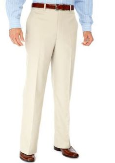 Saddlebred Parchment Straight Fit Flat Front Wrinkle Resistant Dress Pants
