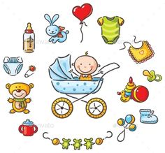 Buy Baby in a Baby-Carriage with Baby Things by katya_dav on GraphicRiver. Baby in a baby-carriage with a lot of baby things Baby Painting, Fabric Painting, Bottle Drawing, Family Drawing, Life Drawing, Baby Applique, Hand Painted Fabric, Baby Scarf, Baby Carriage