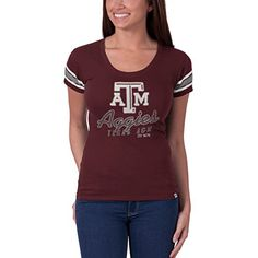 NCAA Texas A&M Aggies Women's Off Campus Scoop Neck Tee, Maroon, Large '47 Brand