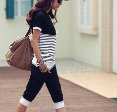Casual Style Stripe Hooded Short Sleeves Suit Black $8.11