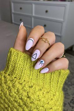 Nail Art Gel Uv, Acrylic Nails, Nail Polish, Uv Gel, Evil Eye Nails, Minimalist Nails, Nail Inspo, Nails Inspiration, Nail Art Designs