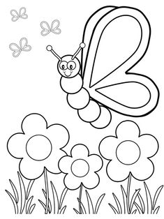 Spring Coloring Pages: Spring coloring sheets can actually help your kid learn more about the spring season. Here are top 25 spring coloring pages free Butterfly With Flowers Coloring Pages Silly Butterfly Coloring Page - Free Printable Coloring Book Page Insect Coloring Pages, Garden Coloring Pages, Summer Coloring Pages, Butterfly Coloring Page, Easy Coloring Pages, Coloring Sheets For Kids, Flower Coloring Pages, Coloring Pages To Print, Free Printable Coloring Pages