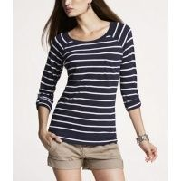 Striped Rolled-cuff Pocket Tee  Express