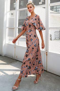 Simplee цветочный принт спинки летнее платье Для женщин винтажные Высокая талия V шеи длинное платье женские пляжные 2017 с коротким рукавом Vestidosкупить в магазине Simplee ApparelнаAliExpress