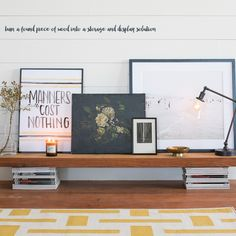 yellow and white area rug, wood display bench sitting on magazines, gooseneck lamp, Edison bulb, Manners Cost Nothing framed print