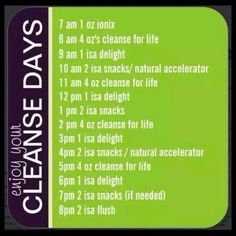 Hour by hour cleanse day schedule!