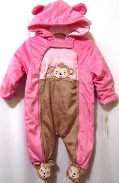 Infant Girls Snowsuit Hooded Pram Pink Monkey Design NWT #SmallWonders #Snowsuit #Everyday