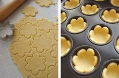 Using your favorite pie dough (or pre-made) cut out flower shapes with cookie cutter and place in mini muffin pan. Bake, cool, then fill with jam or lemon curd and top with whipped cream if desired. Site has translate button.