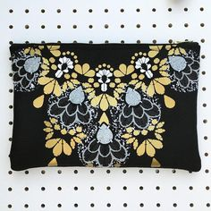 dAKOTA rAE dUST - Black and Gold STATEMENT CLUTCH PURSE with textural embellishment. Luxury evening bag. Jewelled clutch purse with zip. House Clearance, Clutch Bags, Black Fabric, Grey Stripes, Evening Bags, Embellishments, My Design, Black And Grey, Applique