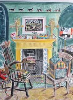 """""""The Yellow Fireplace"""" by Emily Sutton (watercolour). New work to be exhibited at Mark Hearld and Emily Sutton's York Open Studios fringe exhibition at their home and studio at 104, The Mount, York: 15,16 & 17 April and 23 & 24 April 2016"""