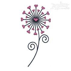 Heart Dandelion Embroidery Design