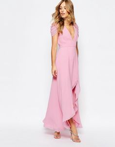 This Full Length Pink Bridesmaid Dress Highlights One Of The Top Colors For 2016 Rose Quartz Fame Partners Radiant Angel High Low Maxi From ASOS