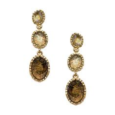 Blu Bijoux Gold Filigree and Crystal Triple Drop Earrings (185 DKK) ❤ liked on Polyvore featuring jewelry, earrings, fashion jewelryearrings, yellow gold drop earrings, crystal earrings, drop earrings, crystal jewelry and gold filigree earrings