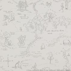 Kiddy wallpaper - Jane Churchill   100 Acre wood  in Charcoal