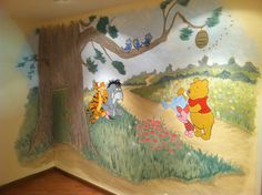 """Winnie the Pooh"" Mural in nursery by Brush & Roll, Paint and Faux, in Los Angeles, CA."