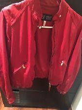 Armani Jeans Red Leather Jacket Women
