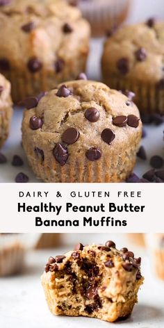 Healthy Peanut Butter Banana Muffins (dairy free + gluten free) - The BEST peanut butter banana muffins that are packed with protein and peanut butter flavor. Healthy Sweets, Healthy Dessert Recipes, Healthy Baking, Snack Recipes, Healthy Meals, Eating Healthy, Healthy Snacks To Buy, Breakfast Healthy, Vegan Snacks