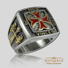 Uniqable-Cavaleiros-Templarios-Prata-Esterlina-925-Maconico-Ouro-Anel-Pld-dos-Macons