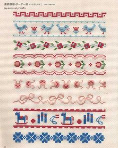 Easy Cross Stitch Technique & 500 patterns by JapanLovelyCrafts Einfache Kreuzstich-Technik & 500 Muster von JapanLovelyCrafts Cross that Stitch Kawaii Cross Stitch, Simple Cross Stitch, Cross Stitch Borders, Cross Stitch Flowers, Cross Stitch Designs, Cross Stitching, Cross Stitch Embroidery, Cross Stitch Patterns, Embroidery Designs