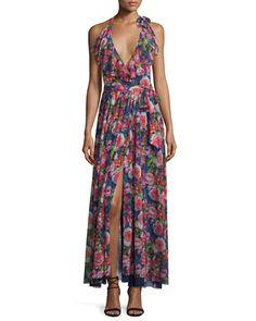 Floral-Print+Ruffled+Halter+Maxi+Dress+by+Fuzzi+at+Neiman+Marcus.