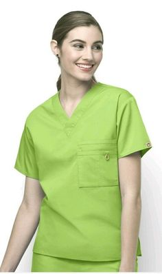eba29f2447 Scrub top has one pocket at the top with three sections, scrubs have  wonderwink logo on the sleeves and side slits for comfort.
