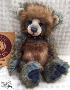 Dakota is a beautifully crafted plumo bear from the 2015 collection, number two in my collection. The photo does no justice for his gorgeous brown and blue plush fur coat and his mohair muzzle. He has fantastic stitched paws and bells around his neck that ring as I pick him up. Again these bears are so beautiful, I really have a new found love
