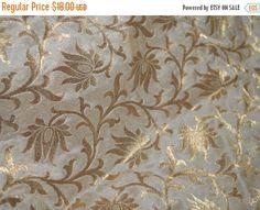 15% OFF Beige and Gold Brocade Silk Fabric - Indian Silk, Wedding Dress Fabric - Pure Banarasi Silk Fabric in Floral Pattern Weaving by Yard