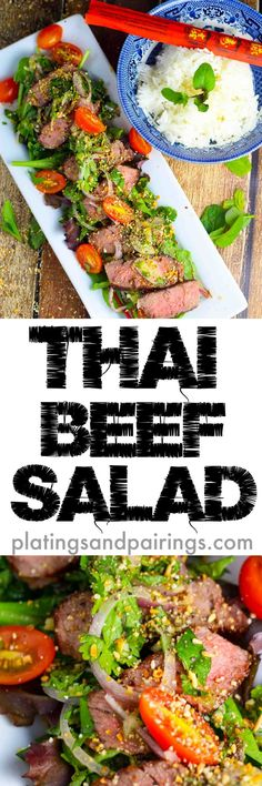 Grilled Steak, Thai Dressing and Toasted Rice Powder - A PERFECT light meal!
