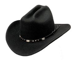 Wool Felt Crushable Cattleman Cowboy Hat - Black