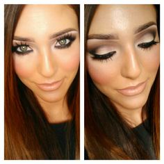 Defined brown smokey eye makeup