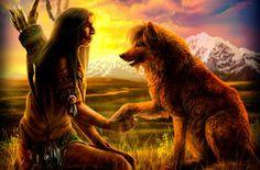 Indianer Wolf Kunst, Native mit Wolf