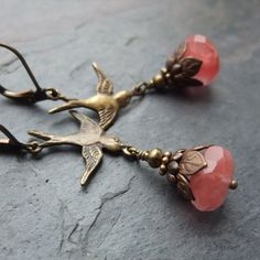Cherry Quartz Earrings Bird Swallow Huckleberry Salmon Pink Antique Brass. $28.00, via Etsy.