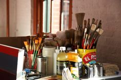 Oh, how I love creative clutter and the smell of art supplies...