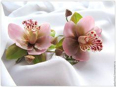 Купить Заколка Орхидея цимбидиум розовая. Холодный фарфор. - розовый, заколка для волос, заколка с цветком