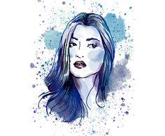 Watercolor portrait, made to order, handpainted, digital