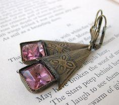 Vintage Rhinestone Earrings Rose Pink Deco Drops Antiqued Brass. $23.50, via Etsy.