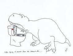Pobre T-Rex (Parte Trying to Recover from the Stomach Flu… Puns Jokes, Jokes Pics, T Rex Humor, Stomach Flu, Dinosaur Illustration, Dinosaur Funny, Mom And Sister, Krystal, Spirit Animal