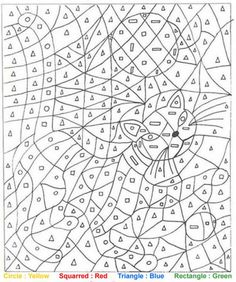 Coloring Page World: Cat, Color-by-Shape