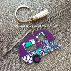 Items similar to Retro Camper Keychain, Glamper Keychain, Happy Camper Key Fob, Vintage Camper Keychain, Glampimg Keychain on Etsy Monogram Keychain, Vinyl Monogram, Diy Keychain, Keychain Ideas, Retro Campers, Happy Campers, Shrink Plastic Jewelry, Glitter Flip Flops, Home Wooden Signs