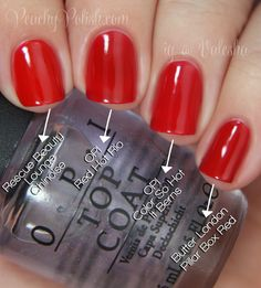 """OPI Brazil Collection Comparisons -- Pointer to pinkie; 2 coats: Rescue Beauty Lounge """"Chinoise"""", OPI """"Red Hot Rio"""", OPI """"Color So Hot It Berns"""" & Butter London """"Pillar Box Red"""". Super similar, but these aren't solid dupes.""""Pillar Box Red"""" is the closest but it's more opaque and a little more yellow toned. """"Chinoise"""" and""""Color So Hot It Berns"""" are more yellow toned than both""""Red Hot Rio"""" and PBR"""