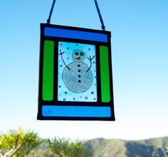 Navidad vidriera emplomada  Muñeco de por TuulaGiraldoArtGlass
