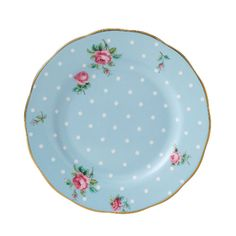 royal albert polka blue rose plate
