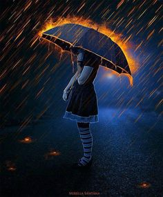 This represents the acid rain that fell on Jericho after the explosion. The umbrella can represent the people of Jericho protecting others from the rain. Umbrella Art, Under My Umbrella, Foto Gif, Into The Fire, Art Et Illustration, Wow Art, Photo Manipulation, Dark Art, Amazing Art