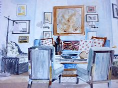 Mita Corsini Bland watercolor of a sitting room by Peter Dunham