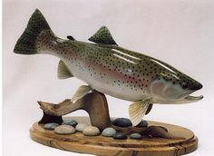 Rainbow Trout carving by Ron Bailey Rainbow Trout, Picts, Carving, Fish, Animals, Ideas, Animales, Animaux, Wood Carvings