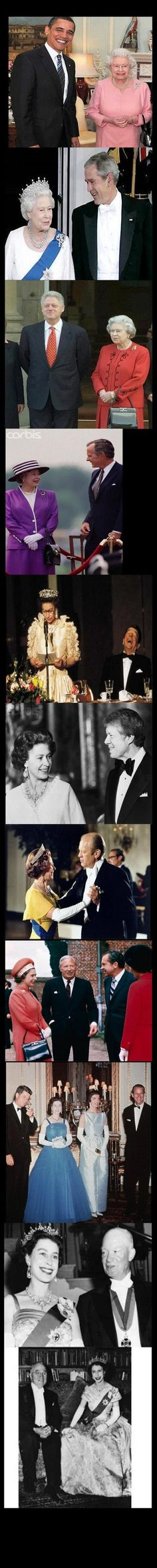 The queen ღf England thrღugh the years.  Let's hope she outlives this President to erase the memories of receiving an iPod filled with his speeches and capture a new photo with a more qualified and dignified POTUS. She has seen it ALL hasn't she?
