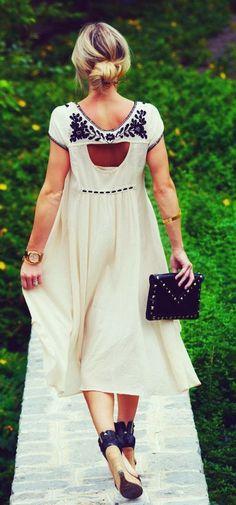 Cute hair bun with flowy maxi dress fashion trend