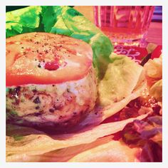 I'm trying wheat free recipes - this is a chicken burger wrapped in lettuce.