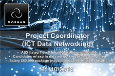 Our customer is an Australian Icon.  They are an ASX listed Tier 1 Telco/ICT solutions provider and today they are seeking to appoint an experienced Project Coordinator with ICT Data Networking experience to support the Project Manager in delivering successful customer communications projects.